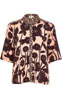 River Island Orange Floral Print Boxy Shirt - Lyst