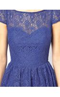 Asos Lace Short Sleeved Skater Dress - Lyst
