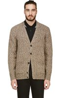 Paul Smith Marled Beige Knit V_neck Cardigan - Lyst