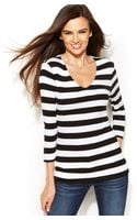 Inc International Concepts Threequartersleeve Striped Top - Lyst