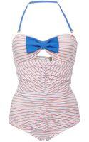 Ete Swim Mimi Striped Ruchedfront Swimsuit - Lyst