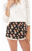 Forever 21 Crochettrimmed Floral Shorts - Lyst