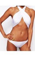 Asos Cross Front Wrap Halter Swimsuit - Lyst