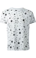 Saint Laurent Star Print T-shirt - Lyst