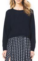 MICHAEL Michael Kors Cropped Waffleknit Cashmere Sweater - Lyst