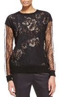 Jason Wu Long-sleeve Lace Sweater with Floral Undershirt - Lyst