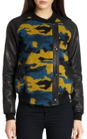 Gryphon Camo Leather Combo Varsity Jacket - Lyst