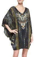 Camilla Silk Mixedprint Batsleeve Minidress Coverup - Lyst