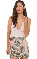 Akira Black Label Sequin Scallop Skirt in Peach - Lyst