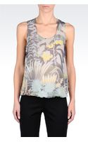 Emporio Armani Top in Waterlily Print Silk - Lyst