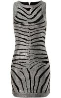 Balmain Rhinestone Zebra Print Dress - Lyst