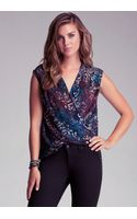 Bebe Wrap Hem Printed Top - Lyst