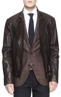 Brunello Cucinelli Leather Asymmetriczip Moto Jacket - Lyst