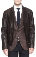 Brunello Cucinelli Leather Asymmetric-zip Moto Jacket - Lyst