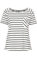 Topshop Womens Petite Stripe Raglan Tee  Navy Blue - Lyst