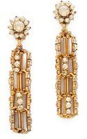 Oscar de la Renta Crystal Link Drop Clip On Earrings - Lyst