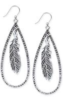 Lucky Brand Silvertone Crystal Feather Teardrop Earrings - Lyst