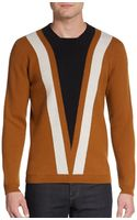 Burberry Prorsum Chevron-Print Wool Cashmere Sweater - Lyst