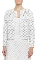Tory Burch Kyra Lasercut Leather Jacket - Lyst