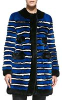 Marc Jacobs Striped Rabbit Fur Coat with Pockets - Lyst