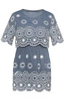Pixie Market Isabella Crochet Denim Dress - Lyst
