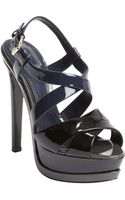 Dior Black Colorblock Patent Leather Peep Toe Platform Sandals - Lyst