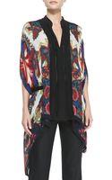 Roberto Cavalli Printed Knit Trim Chiffon Top - Lyst