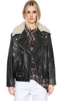 Etoile Isabel Marant Leather Jacket with Shearling Collar - Lyst