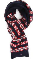 Tommy Hilfiger Blue Double Sided Jacquard Scarf - Lyst