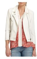 Rebecca Taylor Leather Cotton Moto Jacket - Lyst