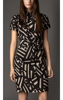 Burberry Geometric Print Silk Shirt Dress - Lyst