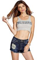 Guess Sleeveless Bonne Fille Crop Top - Lyst