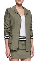 Pam & Gela Studded Striped Parka Army Green - Lyst