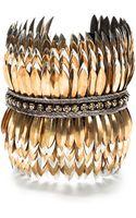 Deepa Gurnani Layered Brass Feather Cuff - Lyst