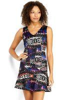 As U Wish Printed V-neck Dress - Lyst
