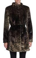 Via Spiga Leopard Print Faux Fur Coat - Lyst
