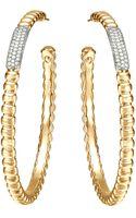 John Hardy Gold Bedeg Pave Diamond Large Hoop Earrings - Lyst