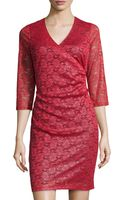 Marc New York By Andrew Marc Shimmer-lace Tuck-pleated Dress - Lyst
