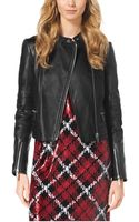 Michael Kors Quilted Leather Paneled Moto Jacket - Lyst
