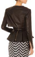 Balmain Leather Drape-neck Crop Top - Lyst