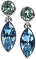 Givenchy Silvertone Blue Crystal Stone Double Drop Earrings - Lyst