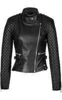 Barbara Bui Quilted Leather Biker Jacket in Black - Lyst