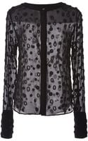 Osman Yousefzada Silk Chiffon Pearl Embroidery Round Neck Shirt in Black - Lyst