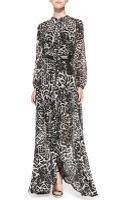 MICHAEL Michael Kors Fremont Tie Neck Animal Print Maxi Dress - Lyst