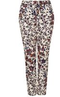 Topshop Floral Cigarette Trousers Cream - Lyst