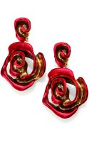 Oscar de la Renta Painted Rose Clipon Drop Earrings - Lyst