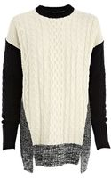 River Island Cream Cable Knit Colour Block Jumper - Lyst