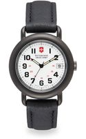 Victorinox Cavalry Gunmetal Stainless Steel  Leather Watch - Lyst
