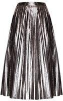 Pixie Market Heavy Metal Pleated Midi Skirt - Lyst