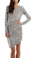Thakoon Addition Gathered Side Dress in Line Print - Lyst